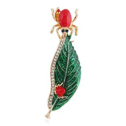 $enCountryForm.capitalKeyWord UK - Enamel Spider Leaf Brooches Rhinestone Insect Brooch Pins Fashion Jewelry Gifts For Women Men Suit Clothes Costume Decoration