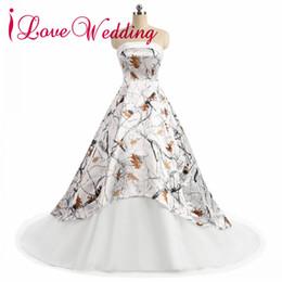 Autumn Colored Wedding Dresses UK - Custom Made Colored white Camo strapless Wedding Dresses 2018 A-line Court Train Satin Lace-up Bridal Gowns Elegant Wedding Dress