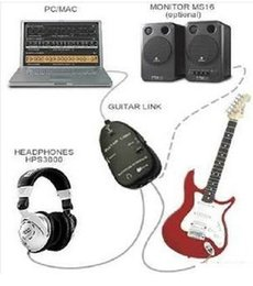 guitar link interface UK - NEW guitar to usb interface link cable PC Laptop Computer Recording Studio in black white