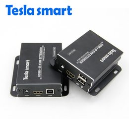 network smart Canada - Tesla smart IP Network KVM Extender High Quality 120m USB HDMI IR KVM Extender by CAT5e 6 TCP IP(1 TX+1 RX)