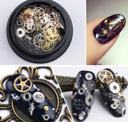 Venta al por mayor de DHL gratis Nail art decoraciones Steam Punk piezas Relojes Studs Gear 3D tiempo Nail Art Wheel Metal Manicura Pedicura DIY Consejos Adornos