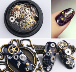 Livraison gratuite DHL Nail art Décorations Steam Punk Pièces Horloges Goujons Gear 3D Temps Nail Art Roue Métal Manucure Pedicure DIY Conseils Ornements