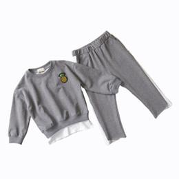 Niños Niños Niñas Ropa conjunto 2018 Otoño Sólido Negro Camiseta Pantalones  Traje de Deporte Para La Niña Ropa Traje de Chándal ddf012859
