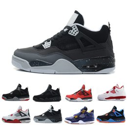 Drop shipping Hot Release Men New Shoes 4 4S Shoes Bred Black-Cement  Grey-Fire Red 3084 Metallic Silver Platinum Spoports Sneakers US8-US13 9c16e83f5