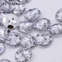 JUNAO 100pcs 13mm Sewing Clear White Rhinestones Buttons Round Acrylic  Button Flatback Crystal Stones For DIY Clothes Decoration f6db28ed1dcf