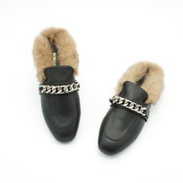 2017 Women Chain Rabbit Fur Slides Ladies Mules Chiara Ferragni Furry  Slippers Loafers Flats Backless Slipony Sandals Shoes 163e115e7409