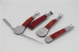 Wood Water Pipes Australia - Red Wood Smoking Tool 3 in 1 Stainless Steel water Smoking pipe Knife tobacco smoke hookah Cleaner metal Cleaning Reamer Tamper Accessories