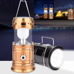Großhandel Outdoor Camping Zelt Laterne Taschenlampe zusammenklappbar Notfall Licht 6 LED Lampe wiederaufladbare tragbare Solar USB Aufladung