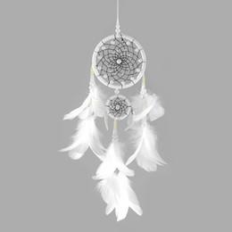 $enCountryForm.capitalKeyWord Australia - Luxury Feather Wind Chimes Handmade Dream Catcher Ivory Bead Pendant White Wedding Christmas Party Decoration Free Shipping