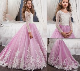 $enCountryForm.capitalKeyWord Canada - New Light Purple Flower Girls Dresses For Weddings Crew Neck Custom Made Lace Long Sleeves Girls First Communion Dress