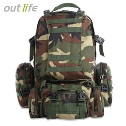 Wholesale 50L Multifunction Sport Bag Molle Tactical Bag Water Resistant Camouflage Backpack for Outdoor Climbing Hiking Camping Colors B