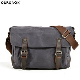 OURONOK Men s Canvas Bag Fashion Leisure Classic Oblique Crossbody Canvas  Shoulder Satchel Men Waterproof Oil Wax Man Retro bag a93b8f1f19