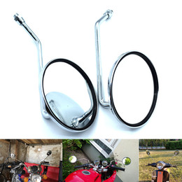 Round Motorcycle Mirrors NZ - For Universal Round Silver Motorcycle Rear Mirror Motorbike Side Rearview Mirror 10mm Left and Right Rear Side view mirrors