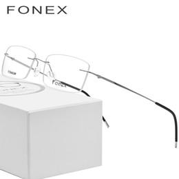 a03c045d378 Rimless Titanium Glasses Frame Men Ultralight Square Prescription Eyeglasses  Women Light Frameless Myopia Optical Frames Eyewear 3126