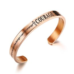 3d3b0eeeb76 New Fashion Rose Gold 8mm Stainless Steel Open Cuff Hand Stamped Bracelet  Engraved Words Mantra Bracelet Bangle Jewelry