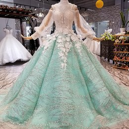 $enCountryForm.capitalKeyWord Australia - 2019 Light Green Evening Dresses Long Puff Sleeves Sweetheart Lace Up Back Brush Train Plus Size 3D Petal Flowers Women Dresses Evening