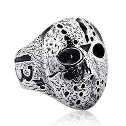 black jason hockey mask UK - Black Friday Hockey Jason Mask SKull Rings Mens Stainless Steel Jewelry for Men Silver Halloween Jason Mask Ring Drop Shipping