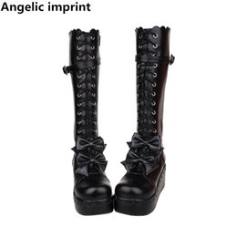 c840af32b3b4 Angelic imprint mori girl Women punk motorcycle boots lady lolita Boots  woman princess high heels pumps wedges shoes bowtie 47