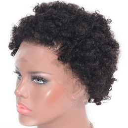 Short curly afro lace front online shopping - Short Brazilian virgin human hair lace front wig density glueless Afro curly natural color free part natural hair line with baby hair