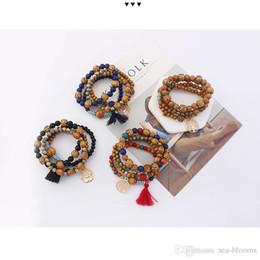 Tree life braceleTs online shopping - Newest Styles Bohemian Beach Multilayer Charm Bracelet Wood Beads Wrist Mala Bangles Tree Of Life Tassel Bracelets Jewelry Gift B630SF