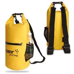 6193f30ab47c 10 20L PVC Waterproof Bag Storage Dry Bag Swimming for Canoe Kayak Rafting  Camping River Trekking with Exterior Zip Pocket