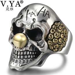 b5be31c17a6c V.YA Punk Anillos de Calavera de Payaso de Plata 925 de Plata de ley Anillo  Masculino Ajustable Para Hombre Joyería de Estilo Gótico Regalos de Moda