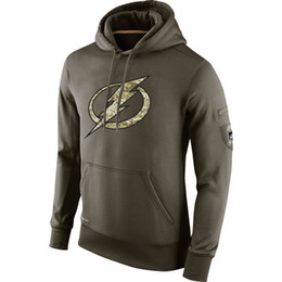Ice Hockey Hoodie Sweatshirt UK - Tampa Bay Sweatshirt Lightning Olive Salute To Service KO Performance ice hockey Hoodie men women