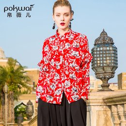 bf094cccb89afe POKWAI Casual Floral Silk Blouse Shirt Women Fashion 2018 Spring New  Arrival Long Sleeve Square Collar Pockets Chiffon Tops