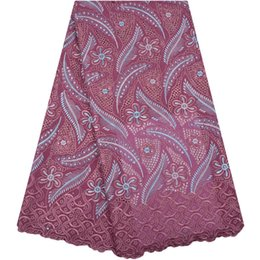 cotton voile fabric UK - High Quality African Swiss Voile Lace 100% Cotton Embroidered African Lace fabrics In Switzerland For Wedding Dress