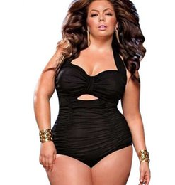 Novo Plus Size Swimwear Mulheres Swimsuit One Piece Sólidos Swimwear Tamanho Grande Do Vintage Retro Swimsuit Maiôs 4XL