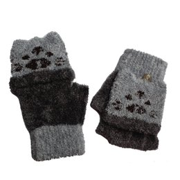 printed gloves 2019 - New Coming Lovely Girls Boys Hand Wrist Warmer Winter Fingerless Gloves Mitten gloves luvas de inverno eldiven cheap pri