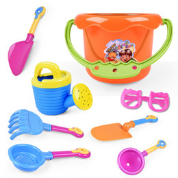 Cartoon wooden hammer online shopping - 9PCS Beach Toys Children Originality Dredging Tool Sunglasses Bucket Playing With Sand Water Toy Hot Sale lh WW