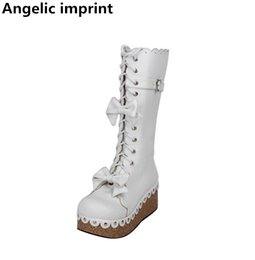 92ff0c9497cb Angelic imprint mori girl Women princess dress party boots lady lolita Boots  woman high heels pumps wedges shoes bowtie 33-47