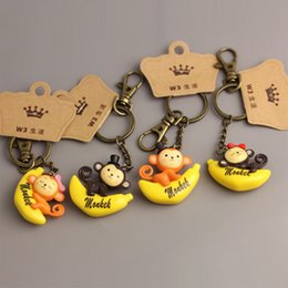 Aggressive Cute Banana Monkey Keychain Jewelry Sets & More Jewelry & Accessories Random Color Lovely Plastic Monkey Riding Bananas Action Figure Keychain