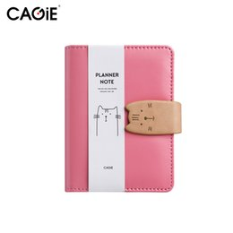 China CAGIE A7 Notebook Kawaii Cat Mini Leather Planner Notepad Pockets Notebooks and Journals Paper Spiral Pink Diary With a Pen supplier mini pocket diary suppliers