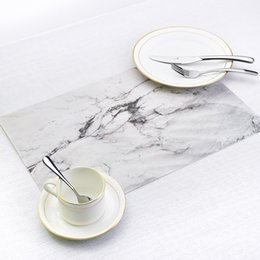 Kitchen Place Mats Australia - Marble Pattern Stripe Place mat PVC Table Mat Dishware Coasters For Kitchen Accessories Wedding Party Home Decoration P20
