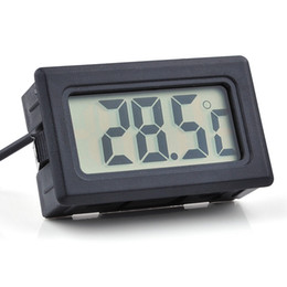 plastic lcd screen Canada - 100pcs Digital LCD Screen Thermometer Refrigerator Fridge Freezer Aquarium FISH TANK Temperature -50~110C GT Black white Color lin2435