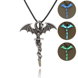 glow dark jewelry UK - Luminous Jewelry Dragon Sword Pendant Necklace Game Of Throne Neck lace Glow In The Dark Anime Necklace For Men Christmas Gifts