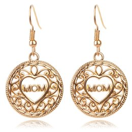 Gold Big Round Dangle Earrings For MOM MotherS Day Gift Fashion Hollow Love Heart Eardrop Jewelry Birthday Mama
