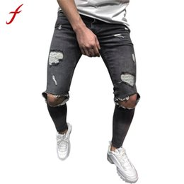 fashion jeans Canada - feitong New Fashion Mens Jeans Skinny Stretch Denim Pants Distressed Ripped Freyed Slim Fit Jeans Trousers Hole Pencil Pants