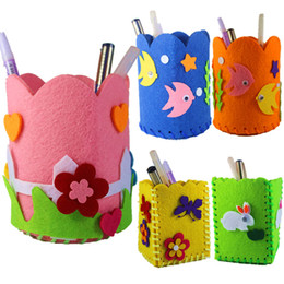 Kids Craft Kits Wholesale UK - Creative DIY Craft Kit Handmade Pen Container Pencil Holder Kids Craft Toy Children Educational Toys Girl Boy Gift Random Color