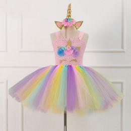 yellow hair movie 2019 - Rainbow Unicorn Tutu Tulle Dress with Hair Hoop Princess Flower Girls Party Dress Children Kids Halloween Unicorn Costum