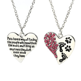 Wholesale Fashion Jewelry Dog Paws Canada - 2018 New Fashion Heart Dog Paw Claw Pendant Charms Necklaces Rhinestone Pet Dog Animal Jewelry Gift for Dog Owners