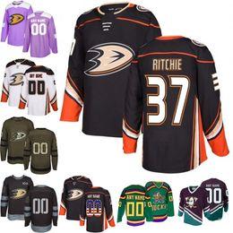2018-2019 Men s Anaheim Ducks 37 Nick Ritchie Ice Hockey Jersey purple  black white army green 100th flat usa Accept Mix Order size S-3XL 00b53d752