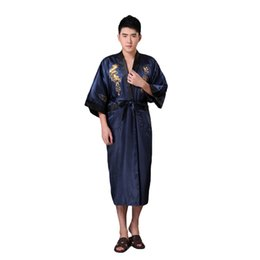 ebf231f05d Chinese Men Silk Satin Robe Gown Home Clothes Novelty Navy Blue Male  Reversible Kimono Bathrobe Embroidery Dragon Sleepwear