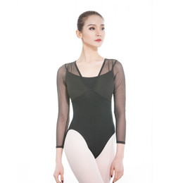 sexy ballet dancing NZ - Ballet Bodysuit Dancing Costume Long Sleeve Adult Ballet Leotards Basic Leotards For Women Mesh Sexy Gymnastics Leotard F Dance