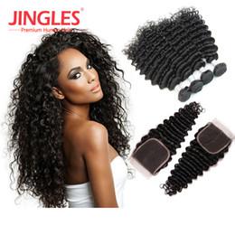 Hair Waves Online Australia - Brazilian virgin hair bundles with closures deep wave bundles with frontal brazilian hair cuticle aligned hair wefts extensions online sale
