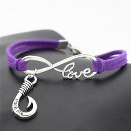 $enCountryForm.capitalKeyWord Australia - Infinity Love Fishhook Hook Me Words Pendant Charm Bracelet Handmade Purple Leather Suede Rope Jewelry For Women Men Lover Gift Dropshipping