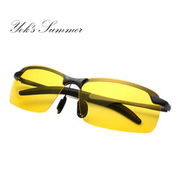 China Yok's Summer Night Vision yellow Glasses Polarized Sunglasses Men Rectangle Metal Frame Rimless Sun Glasses Driving Male Oculos HN106 suppliers
