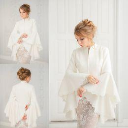 prom wraps jacket shawl 2018 - White Bridal Wraps Satin Autumn Winter Warm Trumpet Long Sleeve For Wedding Evening Prom Partys Jackets Coats Ivory Shaw